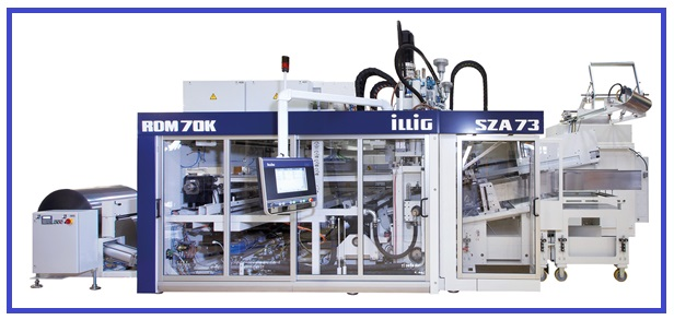 Thermoforming System with IC-RDM 70K Automatic Roll-fed Machine, Combined with a Servo-driven SZA 73c Stacking Machine