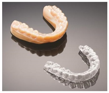 3D Printed Mold for Clear Aligner (Upper Left) Produced on the Stratasys J700 Dental 3D Printing Solution, and Resulting Clear Aligner (Lower Right)