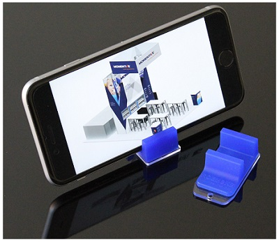 Phone Stands Formed by Overmolding Apec® 1745 High-heat Polycarbonate with Silopren LSR 4749