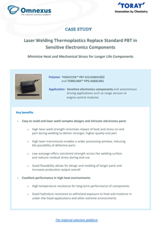 Laser Welding Thermoplastics Replace Standard PBT in Sensitive Electronics Components